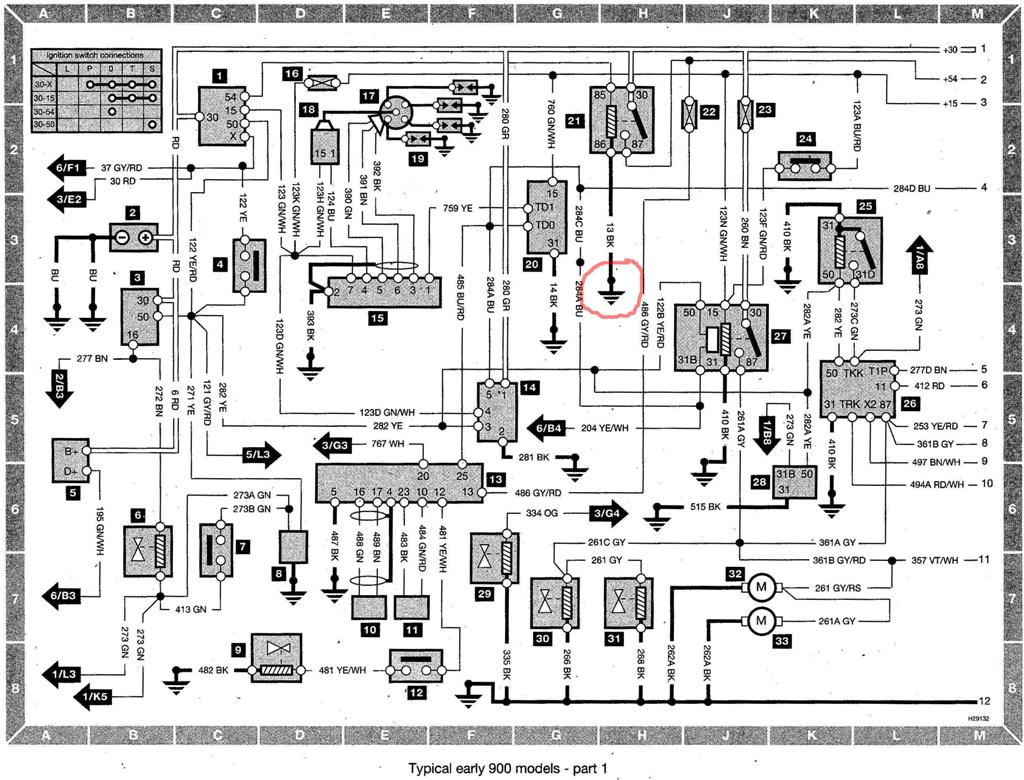 index of saab saab 900 wiring diagram early models saab 900 wiring diag