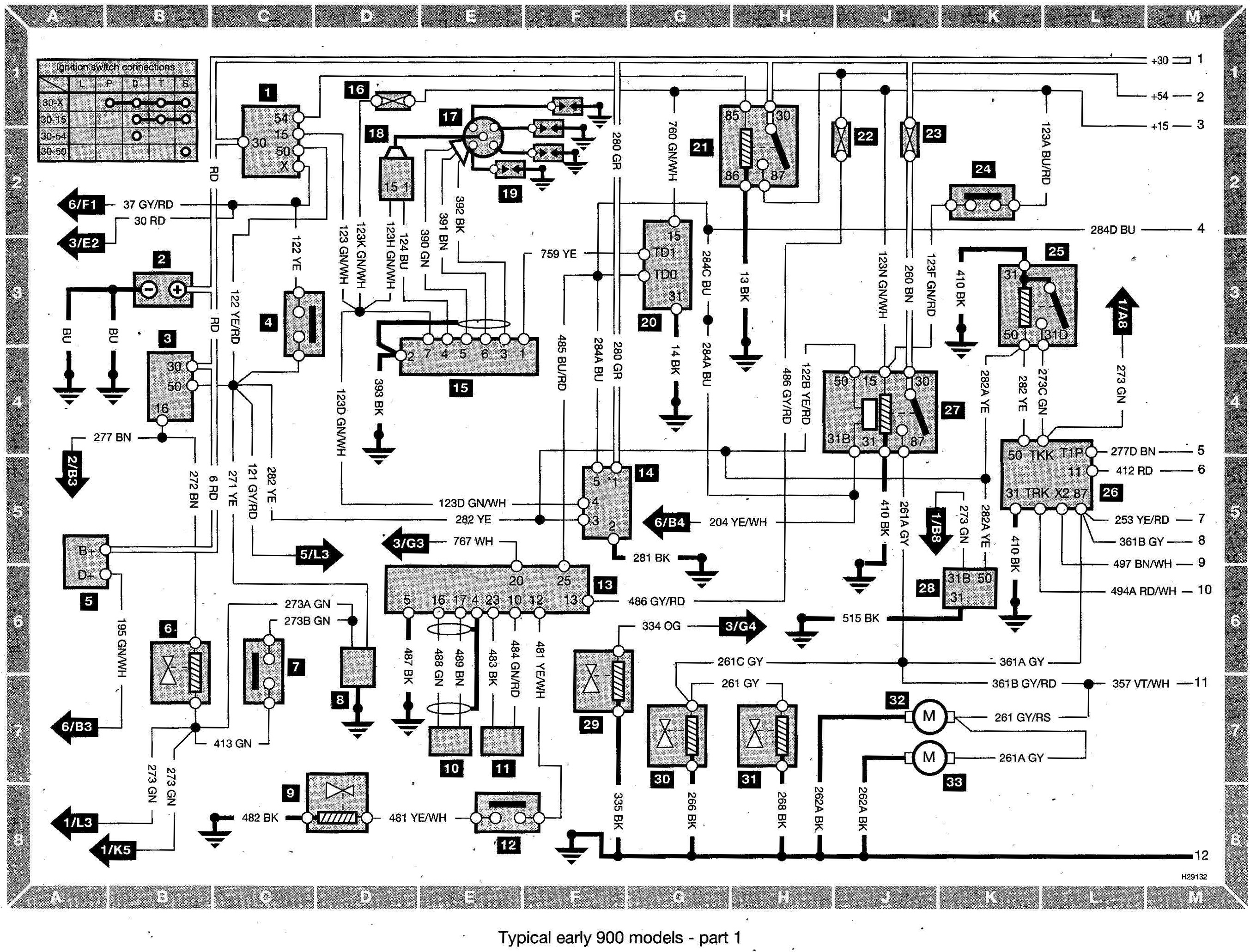 Saab 900 Wiring diagram (early models) part 1 saab ac wiring diagrams saab wiring diagrams instruction BU-353 Light Green at n-0.co