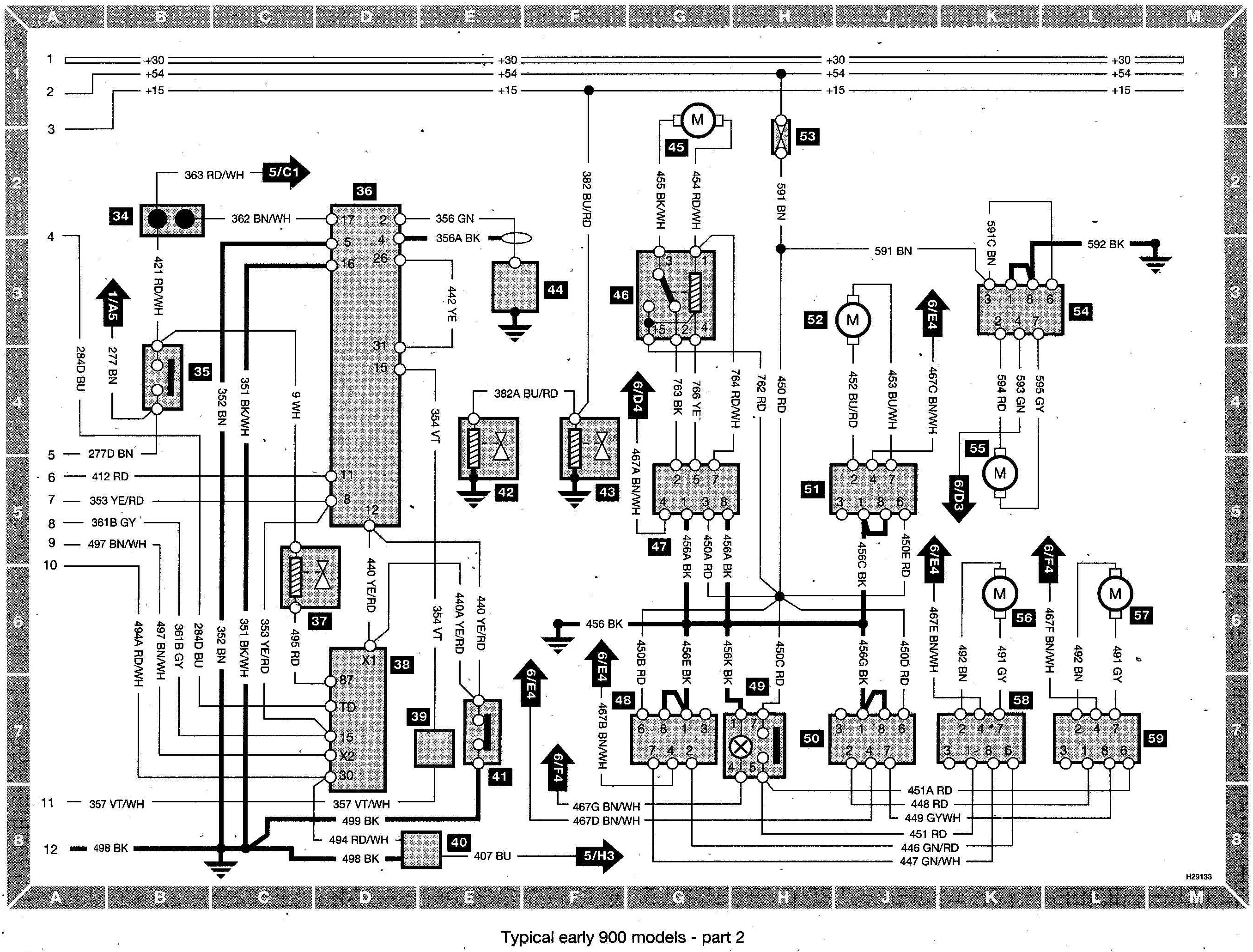 Saab 900 Wiring diagram (early models) part 2 saab wiring harness saab wiring diagrams instruction  at virtualis.co