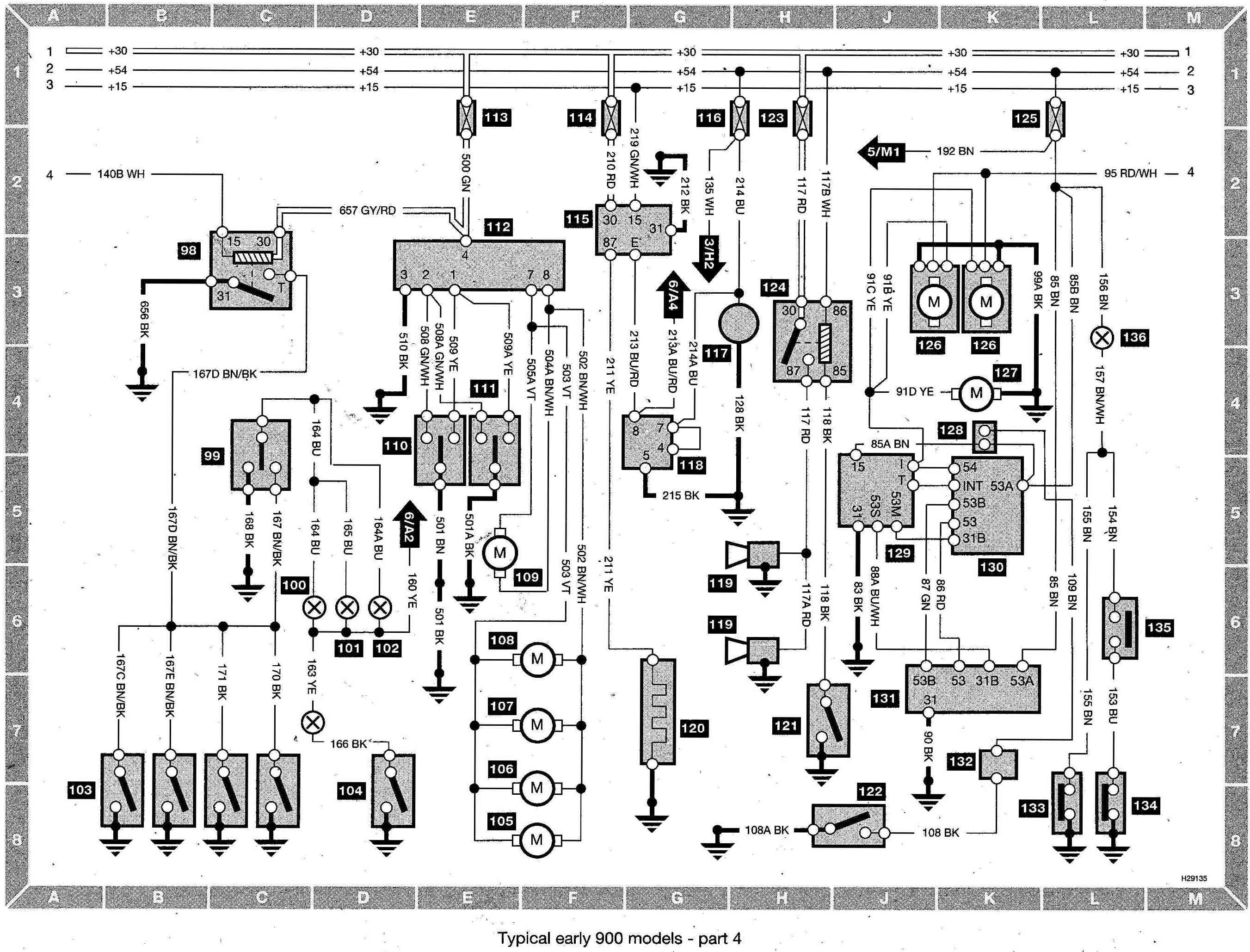 Saab 900 Wiring diagram (early models) part 4 index of saab saab 900 wiring diagram (early models) BU-353 Light Green at n-0.co