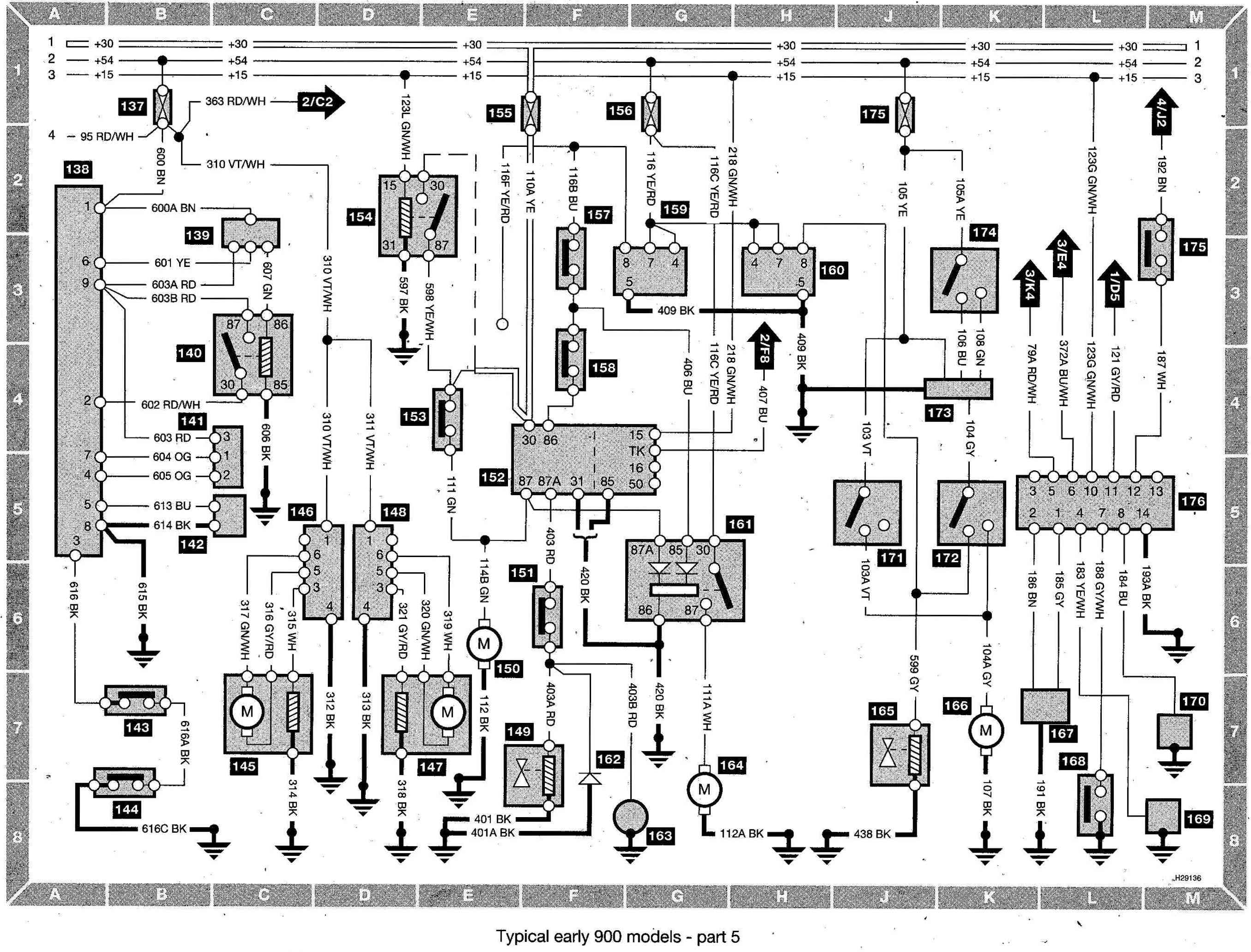 Saab 900 Wiring diagram (early models) part 5 saab 900 wiring diagram pdf 2003 saab 9 3 fuse box diagram 2003 saab 9-3 radio wiring diagram at eliteediting.co